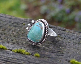 Mixed Metal Sterling Silver and Copper Ring With Turquoise