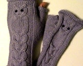 Sale!!!Owl Fingerless Mittens // Cable Knit Fingerless Gloves // CHOOSE YOUR COLOR // Winter Fashion Accessories
