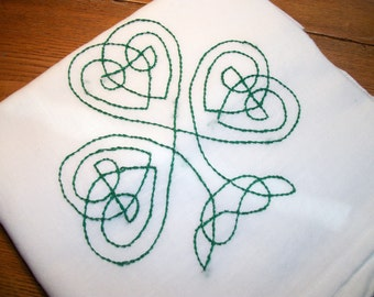 Dish (Tea) Towel with Irish Design Hand Embroidery Flour Sack Dish Towel Multi Design Shamrock Dish Towel