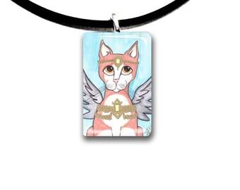 Orange Tabby cat, Fantasy art glass tile pendant, Angel, fairy cat, orange and white cat