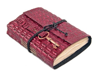 Burgundy Alligator Embossed Leather Journal - Leather Journal - Tea Stained Paper - Ready to Ship - Key - Bookmark - Travel Journal - Diary