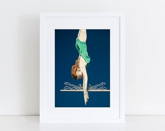 Diving Girl Mid Century Wall Art | Mid Century Modern Swimming Art | Teal Decor