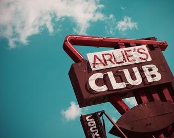Arlie's Club Neon Sign Photo - Cocktails - Mid Century Home Bar Decor - Fine Art