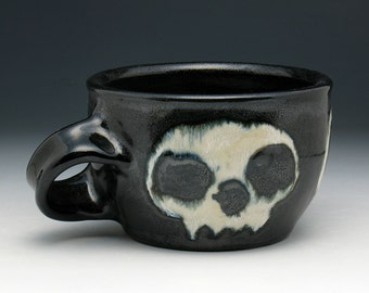 Shaving Mug, Black Glazed Zombie Skulls Shaving Cup with Angled Handle for RIGHT HANDERS