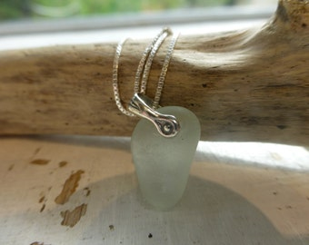 Icy Pale Blue Sea Glass Necklace
