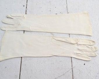 1950s White Leather Gloves