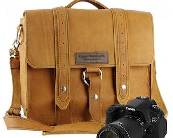 """10"""" Grizzly Tan Napa Safari Leather Camera Bag -  10-V-GZ-SMCAM"""