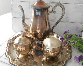 coffee set cottage chic vintage charm coffee pot sugar creamer french country silver plated victorian cottage style - 4 piece tea service