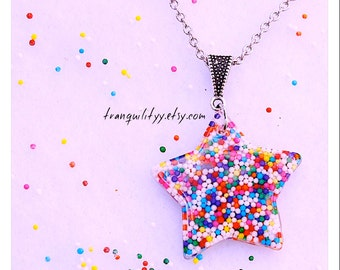 Sprinkle Star Necklace , Birthday Starlet  Sprinkle Resin Necklace, Scene, Kawaii , By: Tranquilityy
