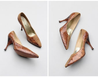 1950s Italian couture high heels - snakeskin & suede pumps / Julianelli - 50s reptile stiletto pumps / collectible designer shoes - 6.5 B