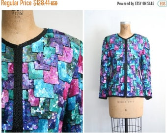 SALE / vintage 70s . 80s trophy disco jacket - sequined 1970s cardigan / Rainbow Sequins - deco style - cocktail party top / 1980s glam - be