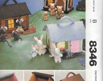 Vintage 80s McCall's 8346 Soft Cloth Stuffed Miniature House Furniture & Families Sewing Pattern Mice Rabbits Bears UNCUT