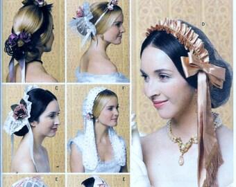 Butterick B5663 Pattern Historical Headpieces Costume Civil War Renaissance 5663 UNCUT