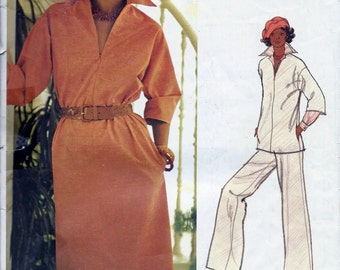 Vogue 1200 Vintage 1970s Leo Narducci Dress Tunic And Pants Sewing Pattern Size 10