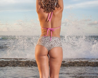 INDIE ATTIRE - Lace Up High Waisted Thong Bikini Bottom - Cream with Brown Leopard Print