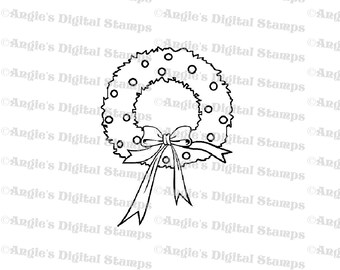 Christmas Wreath Digital Stamp Image