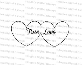 True Love Double Hearts Digital Stamp Image