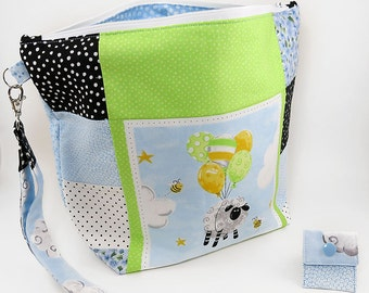 """Large Zipper Knitting Project Bag """"Lewe the Ewe Patchwork"""" (Wedge Style):  with detachable handle! (10"""" x 14"""" x 5"""" base)"""
