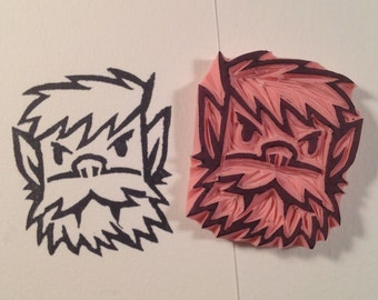 Halloween Wolfman stamp, Hand carved rubber stamp. Handmade rubber stamp.