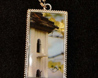 Birdhouse Picture Pendant with Resin.