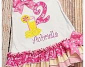 Pink Lemonade Birthday Dress- Lemonade Birthday Dress- Pink Lemonade Dress- First Birthday Dress- Lemonade- lemonade birthday