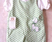 25%SALE Vtg NOS headstock Healthtex green and white polyester romper / 18 months / NWT tag intact