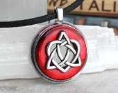 red celtic sister knot necklace, celtic heart, triquetra necklace, valentines day, unique gift, irish jewelry, celtic jewelry, heart jewelry