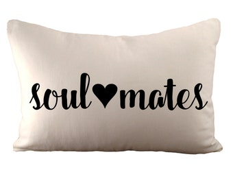 soul <3 mates - Cushion Cover - 12x18 - Choose your fabric and font colour