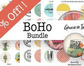 Bundle Pack,Boho,Inspiration, Quotes,Digital Download, 1 inch,Bottle cap images, 30 mm, cabochon,pattern,handwriting, gracie and joy