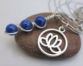 Lapis lazuli keychain - blue gemstone keyring - lapis bag charm - wire wrapped beads - lotus keychain - silver lotus flower - swivel clasp