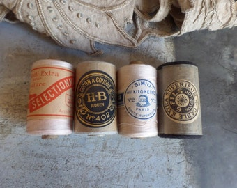 Instant collection of French spools with thread 1920 - Unused thread spool with original paper labels