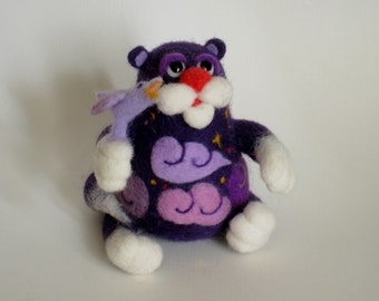 Cat. Night. Nightingale - needlefelted sculpture