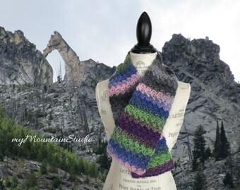 Kaleidoscope Berry Field Wrap and Tuck Cowl Scarf - Handmade - Wool