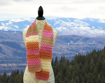Ladies Handmade Scarf in Pink, Orange, Cream, and Taupe. Kaleidoscope Cheesecake Wrap and Tuck Cowl Scarf. Wool.