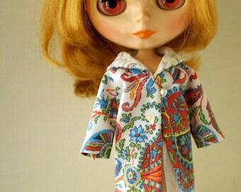 Paisley pattern long jacket for Blythe