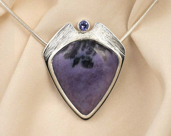 Tanzanite Charoite Pendant Necklace in Sterling Silver