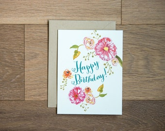 Happy Birthday beautiful blooms card with hand painted flowers