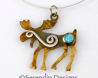 Sterling Silver Pictograph Moose Pendant with Blue Opal and Silver Spiral, Silver Patina Moose Necklace Silver Moose Primitive Moose
