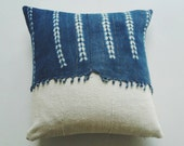 Blue and White Mudcloth Pillow Cover with Fringe - Earthy Boho Throw Pillow - Bohemian Glam