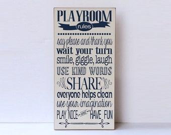 Playroom Rules Wood Sign, Playroom Decor, Child's Room Decor, Home Decor, Wooden Sign, Rules for Playtime, Custom Colors