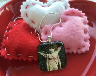 Valentine day necklace. vintage valentines necklace. angel girl. cherub. gift for her. girls valentine day necklace