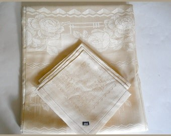 Vintage Czech Rectangular Tablecloth/ 12 Napkins ~ Silk Roses/Ecru Cotton Linen   c. 1940s  *Reduced