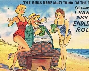 Vintage Comical Unused Postcards Set of Two