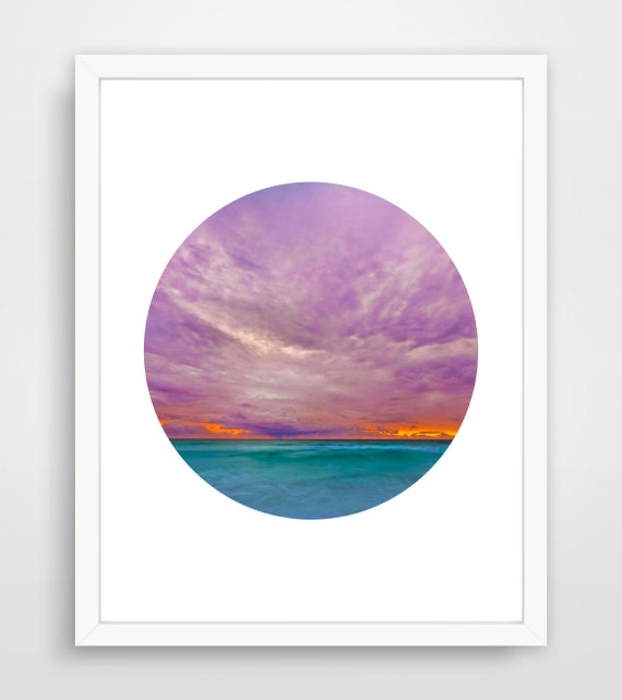 Sunset Photography Lilac Aquamarine Sunset Print Purple Mauve Ocean Sunset Photo Skyrim Beach Decor Sunset Art Circle Cloud Light Sunrise