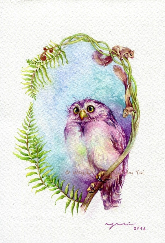 """PRINT – Spring owl and friends - Watercolor painting 7.5 x 11"""""""