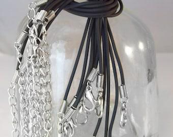 "SALE  10 Black Rubber Necklaces 17-19"" Inch Adjustable Length"