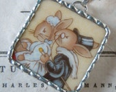 Fiona & The Fig - Royal Doulton Bunnykins - Wedding-Bride and Groom-Marriage -  Broken China Soldered Necklace Pendant Charm-Jewelry