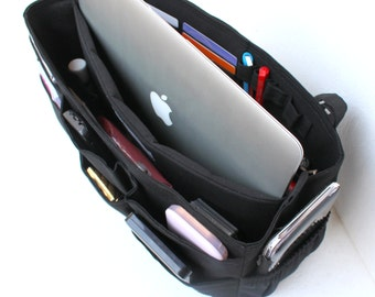 Extra large size Purse organizer with laptop padded compartment and Credit card slots - Bag organizer insert in Black fabric