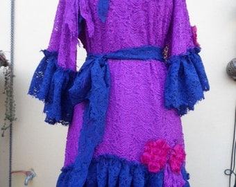 20%OFF vintage inspired lace dress with ruffles and shabby roses...medium to  to firm 46'' bust....