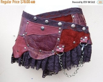20%OFF 20 Percent OFF...BURNING Man festival ,  3 toned leather mini skirt/belt with ruffles and studs... 34'' to 42' hip or waist...